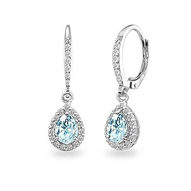 9d989b975 Sterling Silver Blue Topaz Teardrop Dangle Halo Leverback Earrings with  White Topaz Accents