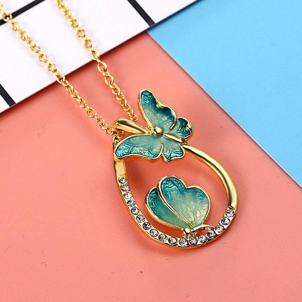 Xileg Gold Color Zircon Butterfly Necklaces Pendant Charm Drop Statement Necklace for Women Jewelry