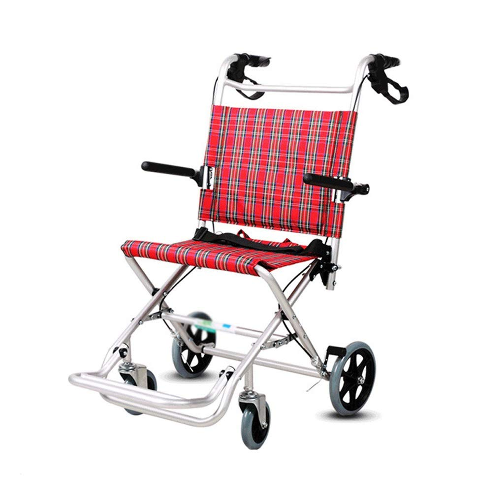 XXHDEE Folding Wheelchair Aluminum Alloy Ultra Light Portable Travel Elderly Trolley Walking aids by XXHDEE