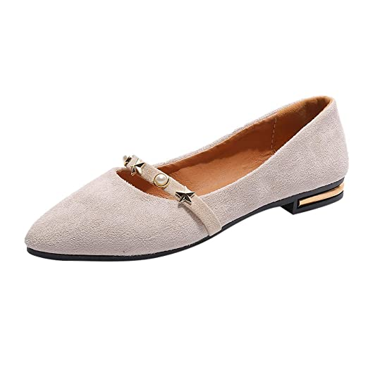 d7a2d616df6bb Women's Pointed Flat Shoes Casual Solid Color Flock Single Shoe ...