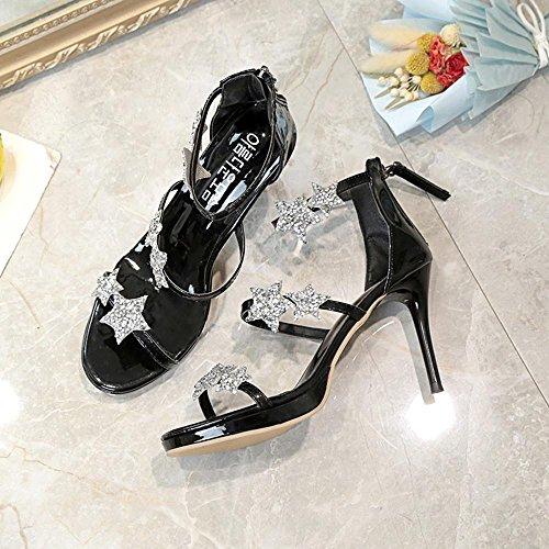 Sandales Sandales Mode Bout D'été Noir Étanche Chaussures Étoiles forme À Talons Burfly Hauts Plate Femmes Ouvert Cinq wSEPPq