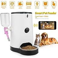 didseth Mangeoire automatique distributeur automatique de nourriture WiFi Appareil pour chien 120° 4L avec appli smartphone Télécommande 2Voies Audio en temps réel prend en charge 64Go SD kard et sharing  Blanc