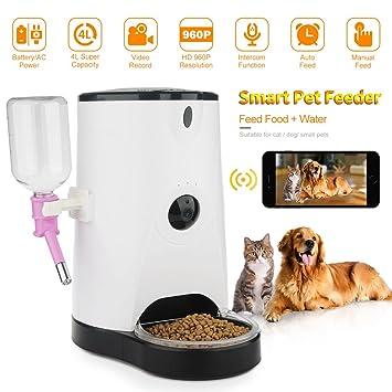 didseth – Comedero automático Comedero perros Cámara WIFI 120 ° 4L con Smartphone aplicación mando a