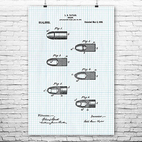 Bullet Poster Print, Police Gift, Gun Club, Shooting Range, Veteran Gift, SWAT Team, Law Enforcement, Firearm Ammunition Graph Paper (9