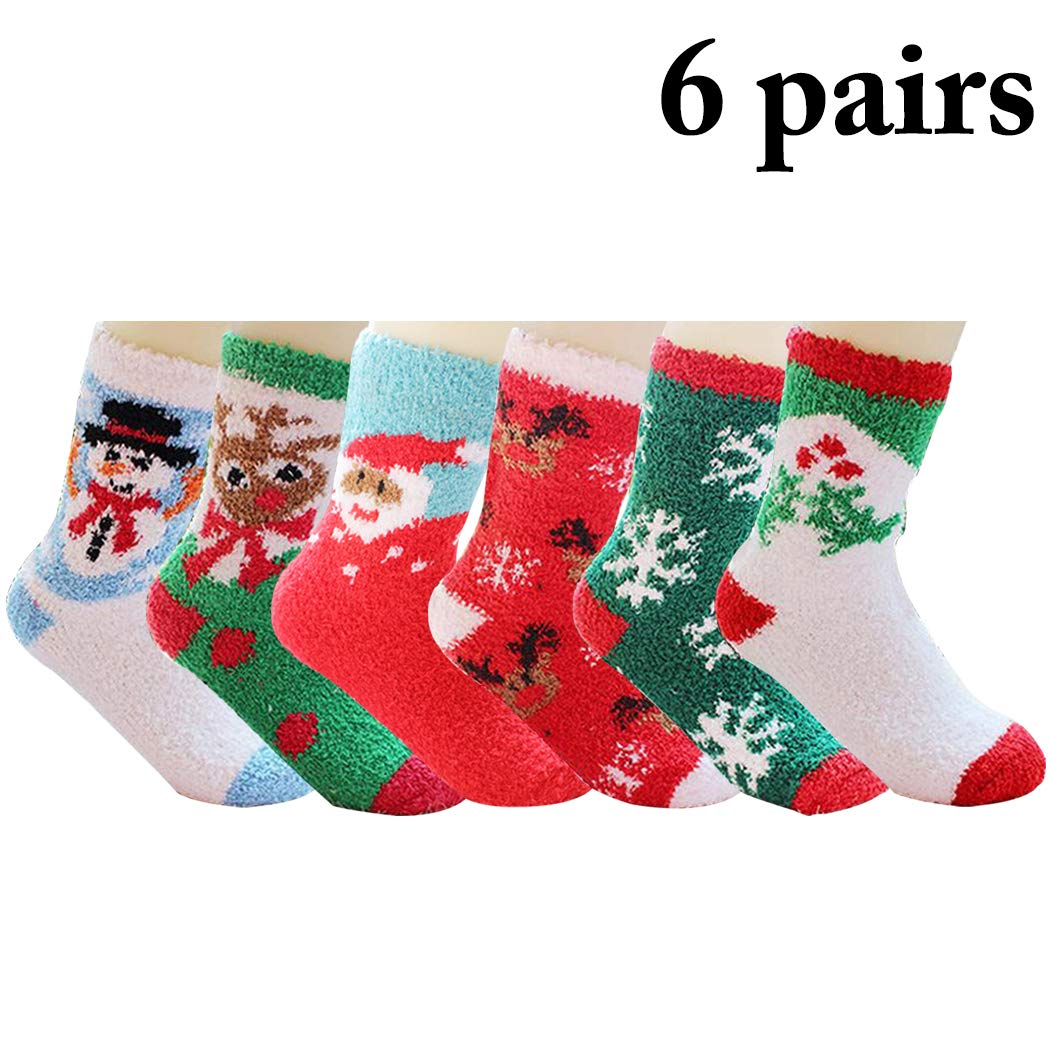 Zoylink Christmas Socks Fuzzy Socks Cartoon Print Thickened Warm Crew Socks