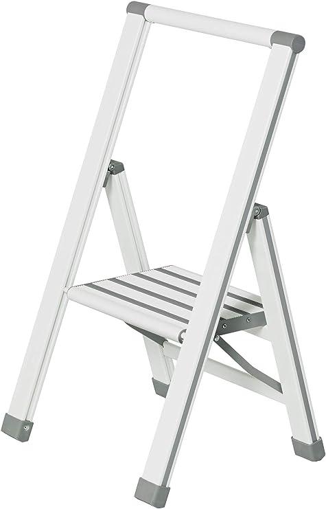 Wenko Escalera Plegable 601014100 de 1 peldaño, en Aluminio Blanco o Gris (44 x 74 x 5,5 cm): Amazon.es: Hogar