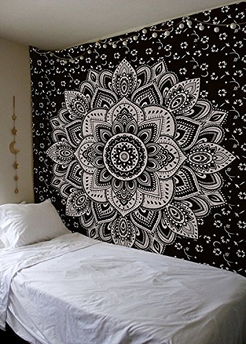 Labhanshi Black Silver Ombre Tapestry Ombre Bedding, Mandala Tapestry, Queen, Indian Mandala Wall Art Hippie Wall Hanging Bohemian Bedspread