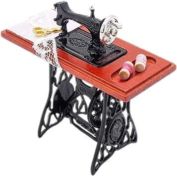 Amazon.es: Odoria 1/12 Miniatura Máquina de Coser Vendimia Decorativo para Casa de Muñecas: Juguetes y juegos