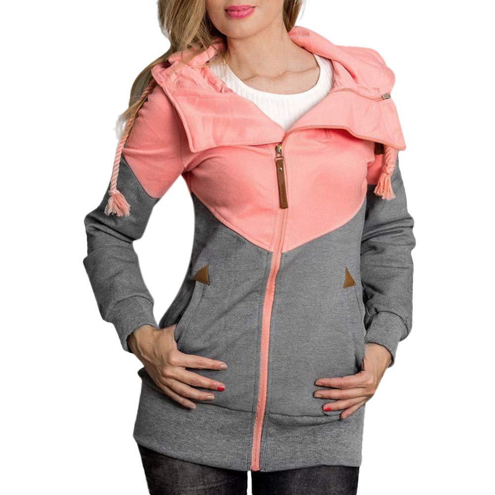 Seaintheson Women's Coats OUTERWEAR レディース B07HRFFKV2 Large|ピンク ピンク Large