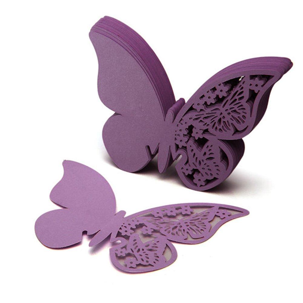 50 Stück 3D Schmetterlinge Violett Tischkarten Platzkarten Namenskarten Party FACILLA BB340-pty