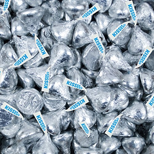 Hershey's Kisses, Milk Chocolate in Silver Foil (Pack of 2 (Silver Colored Foil)
