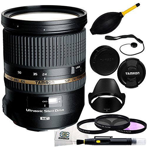 Tamron SP 24-70mm Di VC USD Nikon Mount (Model A007N) + 3 Piece Filter Kit (UV-CPL-FLD) + Lens Cap Keeper + Dust Blower + Lens Cleaning Pen + Microfiber Cleaning Cloth by SSE