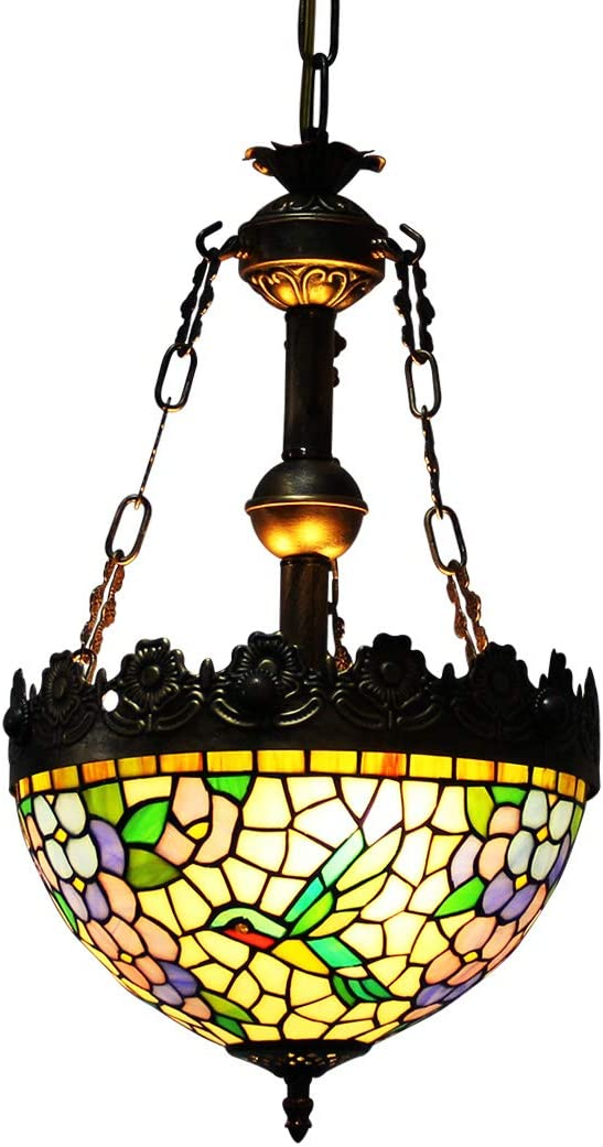 Makenier Vintage Tiffany Style Stained Glass Wisteria Humming Bird Inverted Ceiling Pendant Light, 12 Inches Shade