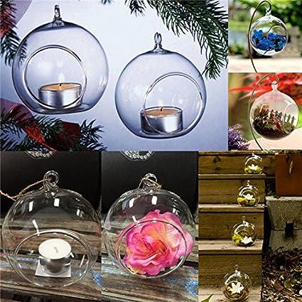 de07c77da1 6Pcs Clear Hanging Glass Baubles Ball Candle Tealight Holder Home Wedding  Decor: Amazon.co.uk: Kitchen & Home