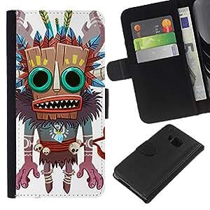 Planetar® Modelo colorido cuero carpeta tirón caso cubierta piel Holster Funda protección Para HTC One M9 ( Monster Native Witch Voodoo Doll Skull )