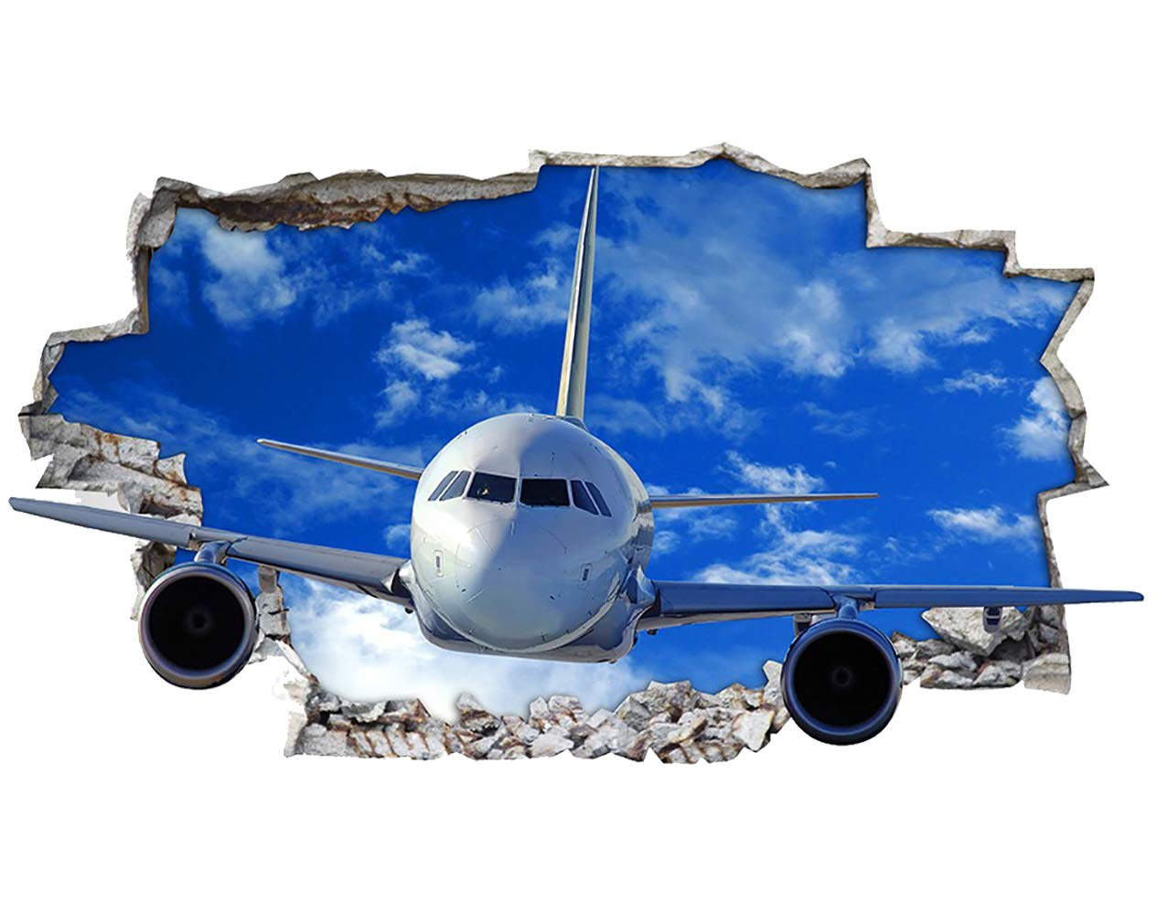 Wall Stickers Jet Plane Smashed Boys Cool  Decal Poster 3D Art  Vinyl Room H002