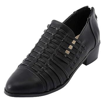Zapatos casual slip on de mujer,Sonnena ❤ Zapatos de cuña de mujer Ponted Toe Botines de color puro con cremallera Zapatos cuadrados de tacón cuadrado: ...