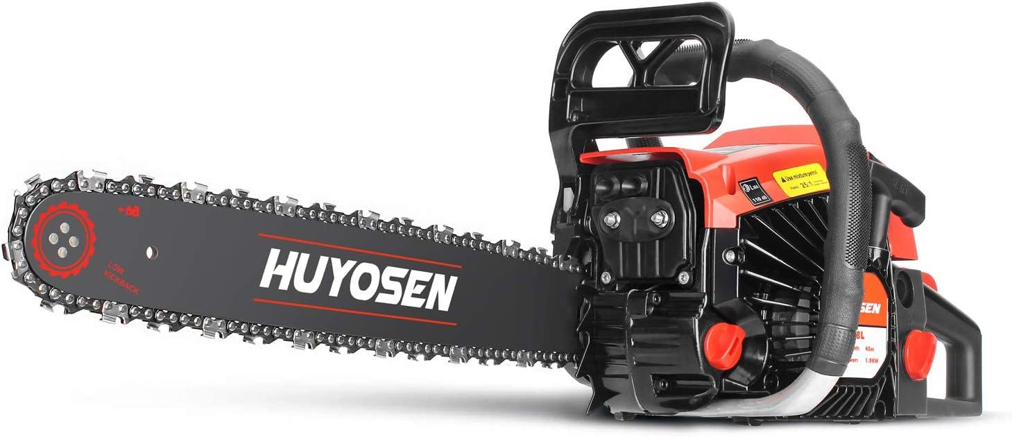 Huyosen - Sierras de cadena de gas con cable de 46 cc 2 ciclos de guía de motosierra de gas de 18 pulgadas 0.325 pulgadas 72DL barra guía de cadena: Amazon.es: Jardín