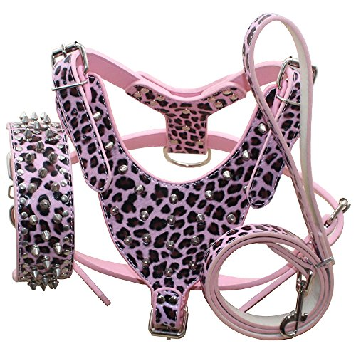 Benala Silver Spikes Studded Leather Dog Pet Collar Harness Leash 3Pcs Set Walking Medium Large Dogs Pitbull Boxer (Leopard,L)