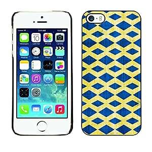GIFT CHOICE / Teléfono Estuche protector Duro Cáscara Funda Cubierta Caso / Hard Case for iPhone 5 / 5S // Blue Yellow Diamond Pattern //