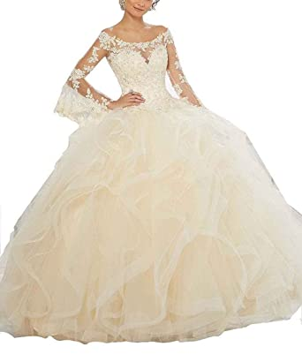 Ruisha Women Scoop Lace Long Sleeves Tulle Ball Gowns Sweet 16 Prom Quinceanera Dresses RS0030 US