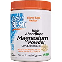 Doctor's Best High Absorption Magnesium Glycinate Lysinate, 100% Chelated, Non-GMO, Vegan, Gluten Free, Soy Free, 200…