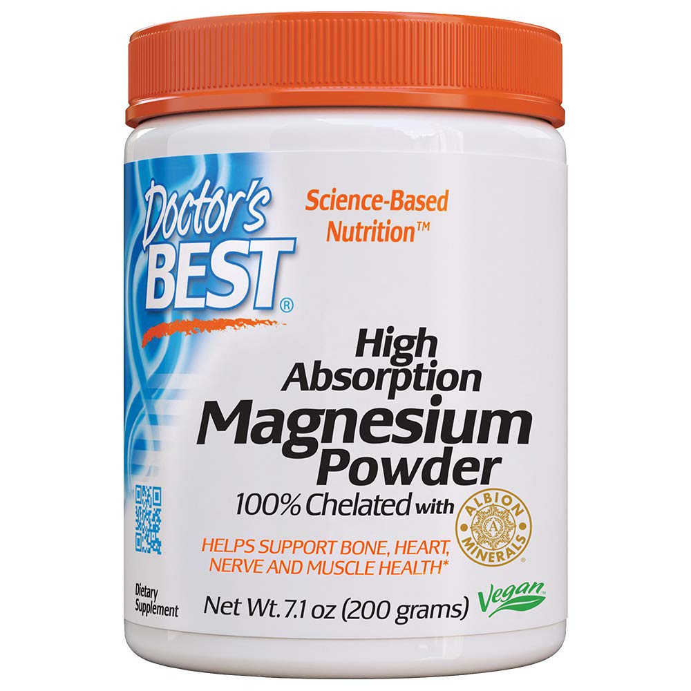 Doctor's Best High Absorption Magnesium Powder, 100% Chelated TRACCS, Not Buffered, Headaches, Sleep, Energy, Leg Cramps. Non-GMO, Vegan, Gluten Free, 200G