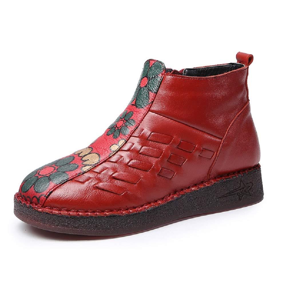ZHRUI Damen Knit Stiefel Leder Blaumenmuster Vintage Schuhe (Farbe     Rot Größe   EU 38) b4a311