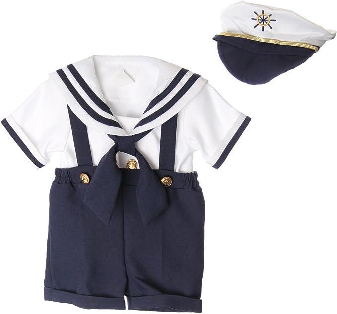 Amazon.com: Little Boys bebé Azul Marino Capitán Sailor ...