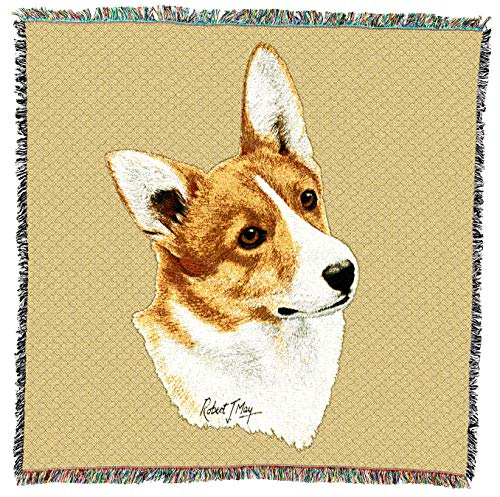 Pure Country Weavers - Welsh Corgi 2 Dog Woven Blanket with Fringe Cotton USA 54x54