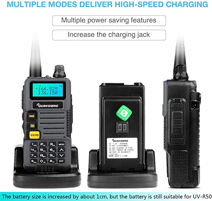 with 2 Antennas and USB Program Cable Ham Radios Quansheng UV-R50 2nd Gen Dual Band Two Way Radios