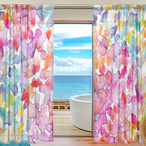 U LIFE Polka Dot Floral Flowers Patchwork Rod Pocket Sheer Voile Window Curtain Curtains 55 inch Wide x 78 inch Long Per Panel, Set of 2 - Rod Dot Polka