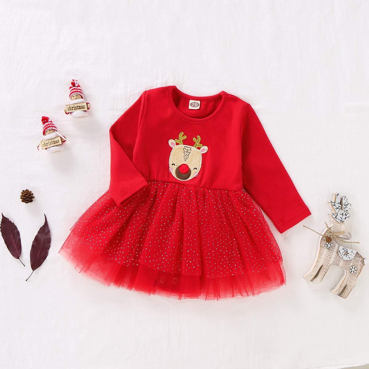 Toddler Baby Girls Christmas Costumes Long Sleeve Lovely Deer Print Tulle Dress