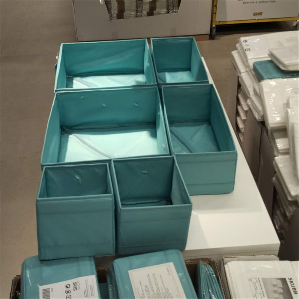 VADOLY Polyester Storage Box Foldable Clothes Baskets Different Size with Zipper On The Bottom Underwear Organizer