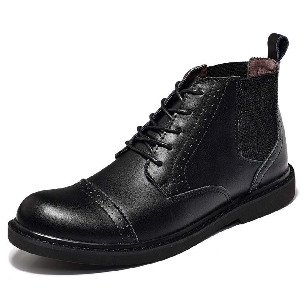 Black Men's Short Ankle Boots Autumn Winter Leather Boots Retro Casual shoes Lace-up Dress shoes for School Office