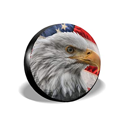 INYANIDI Spare Tire Cover Trailer Accessories, American Flag Eagle Universal Wheel Tire Cover for RV Jeep Trailer SUV(14, 15, 16, 17 Inch) : Clothing