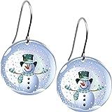 Body Candy Snow Globe Snowman Earrings