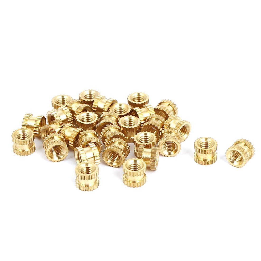 Nrpfell M2x3mmx3.2mm Female Threaded Brass Knurled Insert Embedded Nuts 20pcs