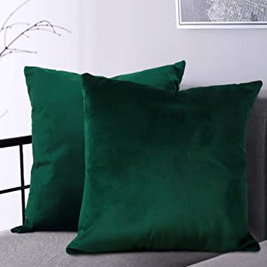 BGment Soft Velvet Cushion Cover, Decorative Square Throw Pillow Case for Sofa Car, Bedroom, Living Room, 18x18 inch - Emerald Green