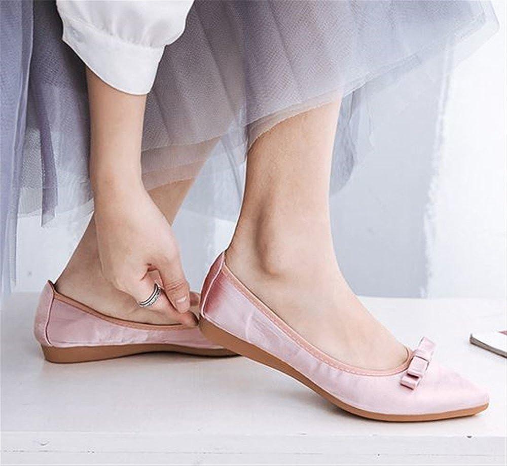 Hanglin Trade Womens Closed Toe Bowknot Slip On Comfort Ballet Flat Dress Shoes