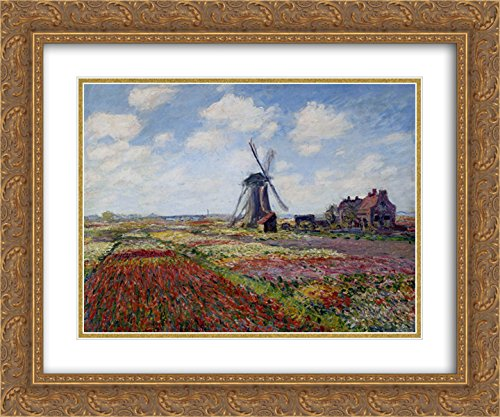 (Claude Monet 2X Matted 24x20 Gold Ornate Framed Art Print 'Fields of Tulip with The Rijnsburg Windmill')