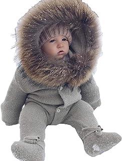 kunfang Unisex Pagliaccetti da Esterno Autunno Inverno A Maniche Lunghe Tuta da Bambino Neonato Tinta Unita Monopetto Top E Pantaloni Morbido Comfy Caldo Abbigliamento