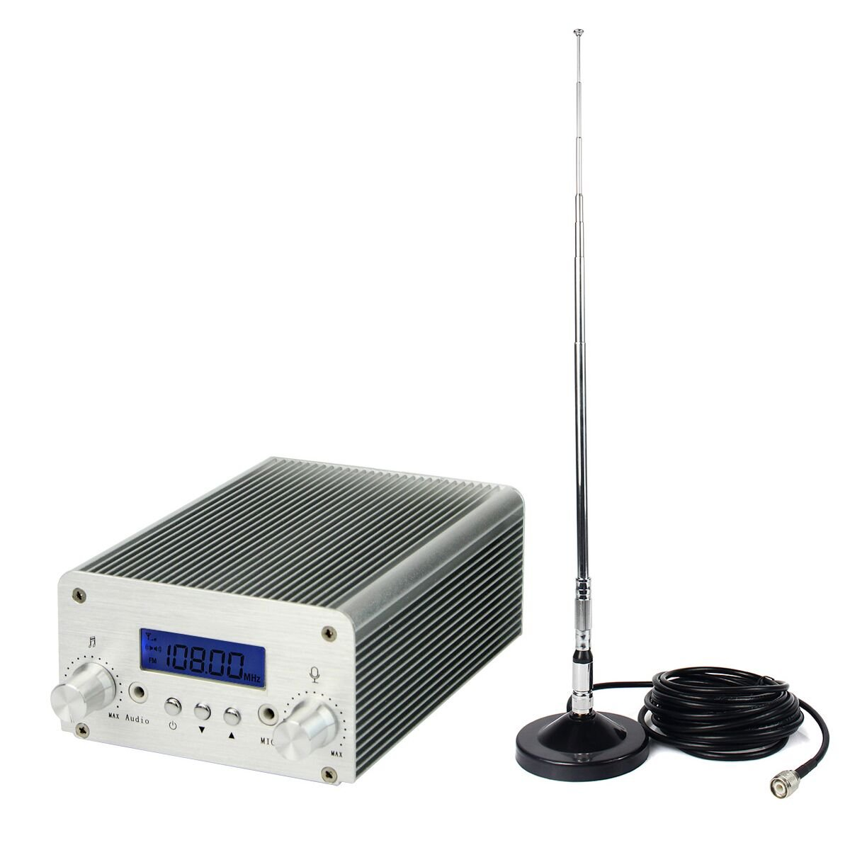 TIVDIO 5W / 15W Wireless FM Transmitter Dual Mode Long Range Mini Home Radio Stereo Station PLL LCD with Antenna(Silver)
