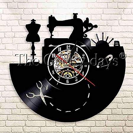 AIYOUBU Reloj De Pared De Vinilo De Costura Reloj De Máquina De Coser Acolchado Vintage Reloj De Costurera Mujer ...