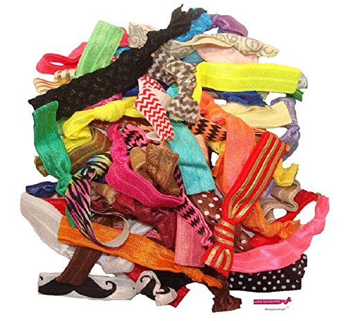 - Kenz Laurenz 100 Hair Ties No Crease Ribbon Elastics Ouchless Ponytail Holders Hair Bands (100 Hair Ties-Mixed Prints & Solids)