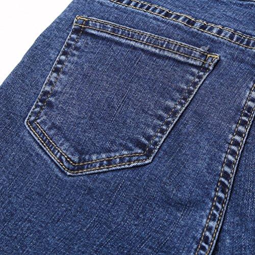 Pantalones Casual Slim Vaqueros Moda Denim Lihaer Mujer Rectos Azul Elásticos Jeans Skinny Mujeres Pantalones qYnpt