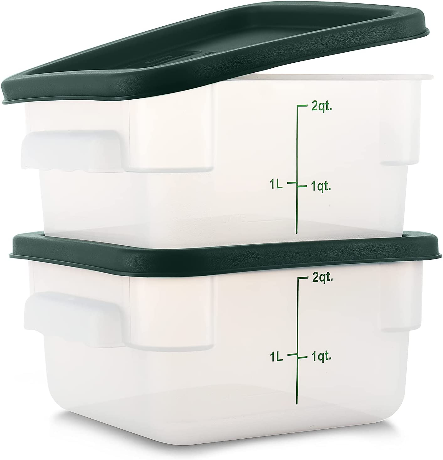 Tafura [Pack of 2] 2 Qt Translucent Square Food Storage Container with Lid, Commercial Grade Plastic Brining Bucket with Cover 2 Quart Sous Vide, Food Prep, Brine Canister, BPA Free