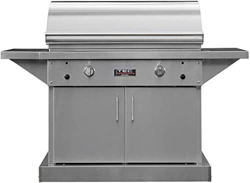TEC Sterling Patio 2 FR Infrared Grill on Stainless Steel Pedestal Two Side Shelves STPFR2LPCAB , Propane Gas