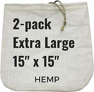 "2 Extra-Large Nut Milk Bags - 15"" x 15"" - All Natural Hemp Reusable Food Strainer for Yogurt, Cheese, Nut Milks, Tea, Coffee & More - 100% Eco-Friendly (hemp)"