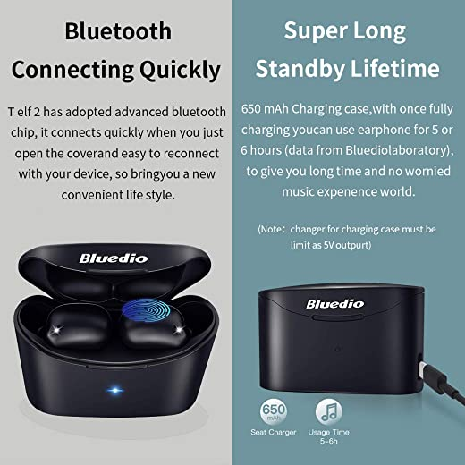 Bluedio True Wireless Earbuds TF2 with Charging Case Built-in Mic, TWS Bluetooth 5.0 Earphones with Face Recognition Touch Control IPX6 Waterproof 6mm Driver for Sports for iOS Android Black